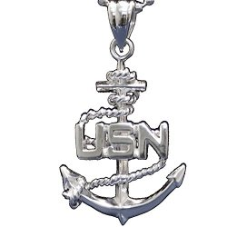 """Us Navy .925 Silver Necklace - United States Military Jewelry Pendant - Usn Charm On Chain (24"""" Chain And Pendant)"""