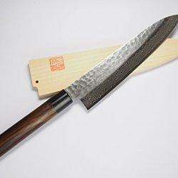 Norisada Hammered Damascus Chef'S Knife, Shitan Handle (8.25-Inch) & Saya Cover