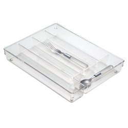 Interdesign Linus Drawer Organizer, Cutlery Tray, Clear