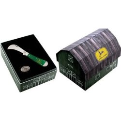Case John Deere Hawkbill Prune Folding Knife,4.25In Closed,Hawkbill Blade,Bright Green 15741
