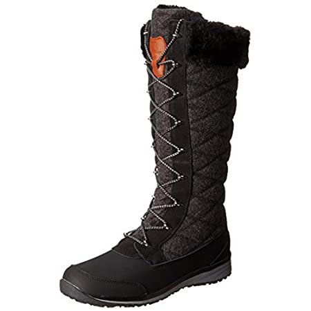 FEATURES of the Salomon Women's Hime High Boot Waterproof split suede leather Waterproof treatment Waterproof PU coated leather Faux fur Felt Seam tape Gusseted tongue Ice grip rubber compound Non marking contagrip Injected EVA midsole Molded EVA soc...