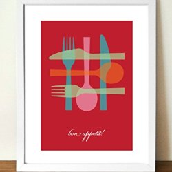 Kitchen Print, Knife, Fork And Spoon 11X14 Inches