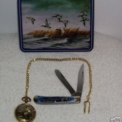 Ducks Trapper Knife & Pocket Watch In Collectible Tin