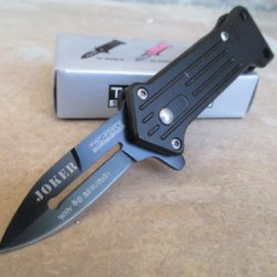 "Tac-Force Mini-Joker ""Why So Serious"" Assisted Opening Linerlock Tactic Black A/O Speed Rescue Knife"
