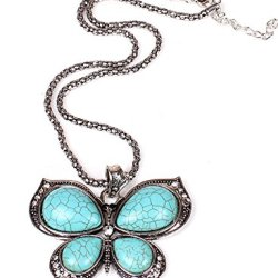 Ppperson Women'S Classical Elegant Crystal Butterfly Turquoise Necklaces