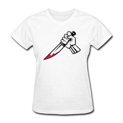 Pthf Women'S Stabbing Dagger Funny T Shirt Xxl White