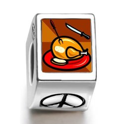 Fervent Love Thanksgiving Turkey Knife Fork Photo Peace Symbol European Charm Bead