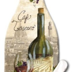Counterart Wine Bottle Shaped 12-1/2-Inch Glass Cheese Board With Spreader Knife, Reserve Vintage