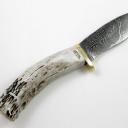 Silver Stag Damascus Crown Twist Elk Stick Fixed Blade Hunting Knife