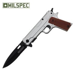 Spring Assisted Handgun Pocket Knife With Wooden Handle (Chrome) Yc-S-8354-Ch