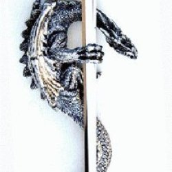 "17"" Silver Polyresin Dragon With Letter Opener"