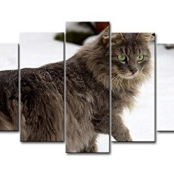 5 Piece Wall Art Painting Cat Walking In The Snow Prints On Canvas The Picture Animal Pictures Oil For Home Modern Decoration Print Decor For Bedroom