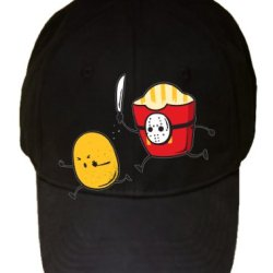 """French Fried Jason"" Funny Horror Film Parody - Black 100% Cotton Adjustable Cap Hat"