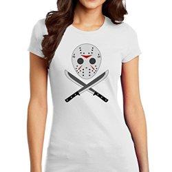 Scary Mask With Machete - Halloween Juniors T-Shirt - White - Xs