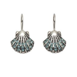 Sterling Silver Scallop Shell Earrings With Swarovski Aqua Crystal Stones