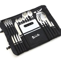 Front Runner Camp Kitchen Stainless Steel Utensil Set With Canvas Wrap Tote Bag By Greensport