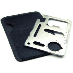 New 11-In-1 Stainless Steel Multi-Functional Pocket Tool Credit Card Survival Tool - Random Color