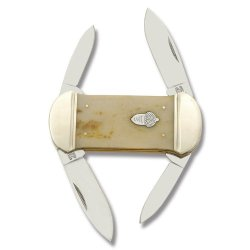 Rough Rider Knives 1110 Doubletake Canoe Pocket Knife With Smooth Tobacco Bone Handles