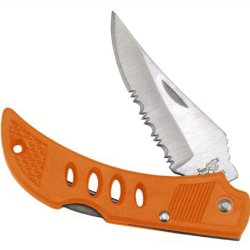 "Orange Handled Pocket Knife - The Vulture Ll - 3"" Closed Tactical Folder/ Stainless Steel Lockback Blade / 1/2 Serrated"