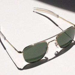 American Optical Original Pilot Eyewear 55Mm Gold Frame With Bayonet Temples And True Color Green Glass Lens
