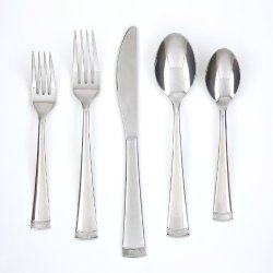 Farberware Poppy Mirror/Pebble 20-Piece Flatware Set, 18/0 Stainless Steel