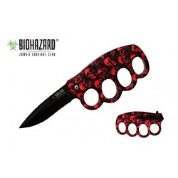 "Biohazard Zombie ""Nefarious"" Ao Knife - Red Camo Skulls - A Must Have For Zombie Hunters"