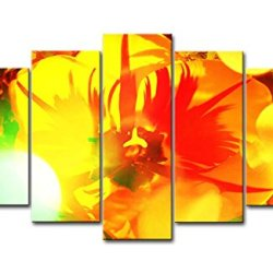 Yellow Orange 5 Piece Wall Art Painting Orange Tulip With Light Prints On Canvas The Picture Flower Pictures Oil For Home Modern Decoration Print Decor For Bedroom