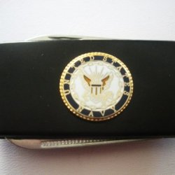 Navy Black Stainless Steel Money Clip With Knife & Nailfile In Body Of Clip