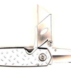 Ruko 4-Inch 2-Blades Utility Knife With Diamond Plate Aluminum Handle