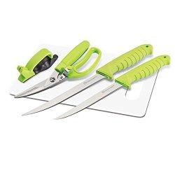 Kilimanjaro 5-Piece Fishing Knife Set With Cutting Board, Green