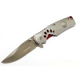 "New 8"" Defender Collection Grey And Red Folding Spring Assisted Knife With Belt Clip"