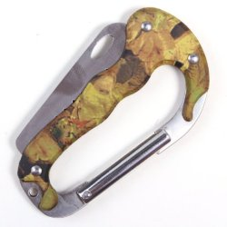 Amc Mini Carabiner Clip Knife W/ Saw For Outdoor Emergency Application