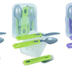 Plastic Cutlery Travel Kit Combo, Knife / Fork / Spoon, On The Go Cutlery Set, Colors May Vary