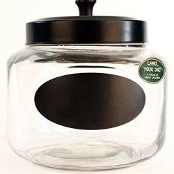 Gorgeous Glass 108Oz Chalkboard Stash Storage Jar Set With Black Lid Piece H29178