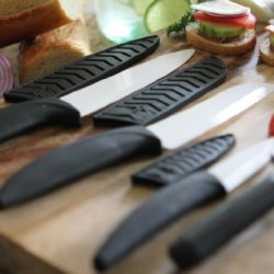 8-Piece Ceramic Knife Set With Peeler And Folding Cutting Board White