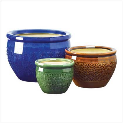 Gifts & Decor Jewel Tone Flower Pot Trio Embossed Earthenware Planter