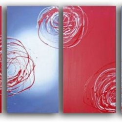 Sangu Wood Framed Silver Swirl Abstract Home Decoration Modern Oil Painting Gift On Canvas 4-Piece Art Wall Decor