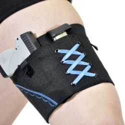 "Gun Holster Garter For Women - Black (Denim Blue, Large 22""-25"")"
