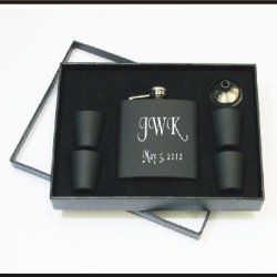 Set Of One Personalized Custom Engraved 6 Oz Black Matte Flask Set Holiday Birthday Groomsman Gifts