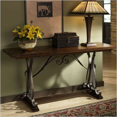 Image of Hammary T1030289-00 Mountain Lodge Flip Top Console Table in Whiskey Finish (T1030289-00)