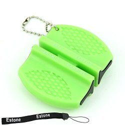 Estone® Mini Ceramic Rod Tungsten Steel Camp Pocket Kitchen Knife Sharpener Stone Tool (Green)