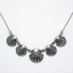 Sterling Silver Scallop Shell Necklace With Aqua Crystal Stones