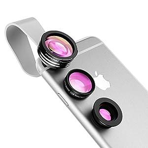 Mpow Clip-On レンズ 3点セット (魚眼、マクロ、広角レンズ) スマートフォン タブレットPC用