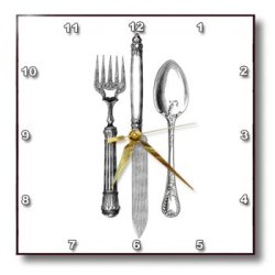 Dpp_161556_1 Inspirationzstore Vintage Art - Black And White Vintage Cutlery Set - Fancy Fork Knife And Spoon Drawing - Restaurant Kitchen Chef - Wall Clocks - 10X10 Wall Clock