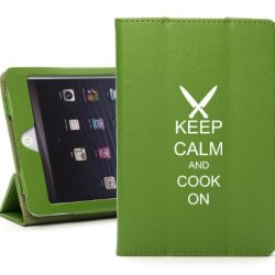 Apple Ipad 2 3 4 Green Leather Magnetic Smart Case Cover Stand Keep Calm And Cook On Chef Knives