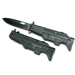 """Machine Gun Shaped Design Spring Assisted 8"""" Pocket Knife, Black"""