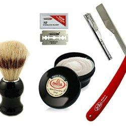 Straight Edge Razor Barber Knife Clean Shave For All Skin Type Omega Shaving Brush And Cream +10 Dorco Blades