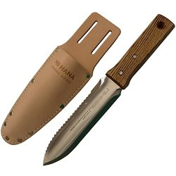 Japanese Hori Hori Stainless Steel, Garden Digging Knife With Leather Sheath