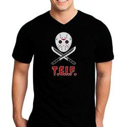 Scary Mask With Machete - Tgif Adult Dark V-Neck T-Shirt - Black - Large