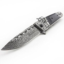 Unlimited Wares Damascus Etched Assisted Opening Folding Knife 4.5-Inch Closed